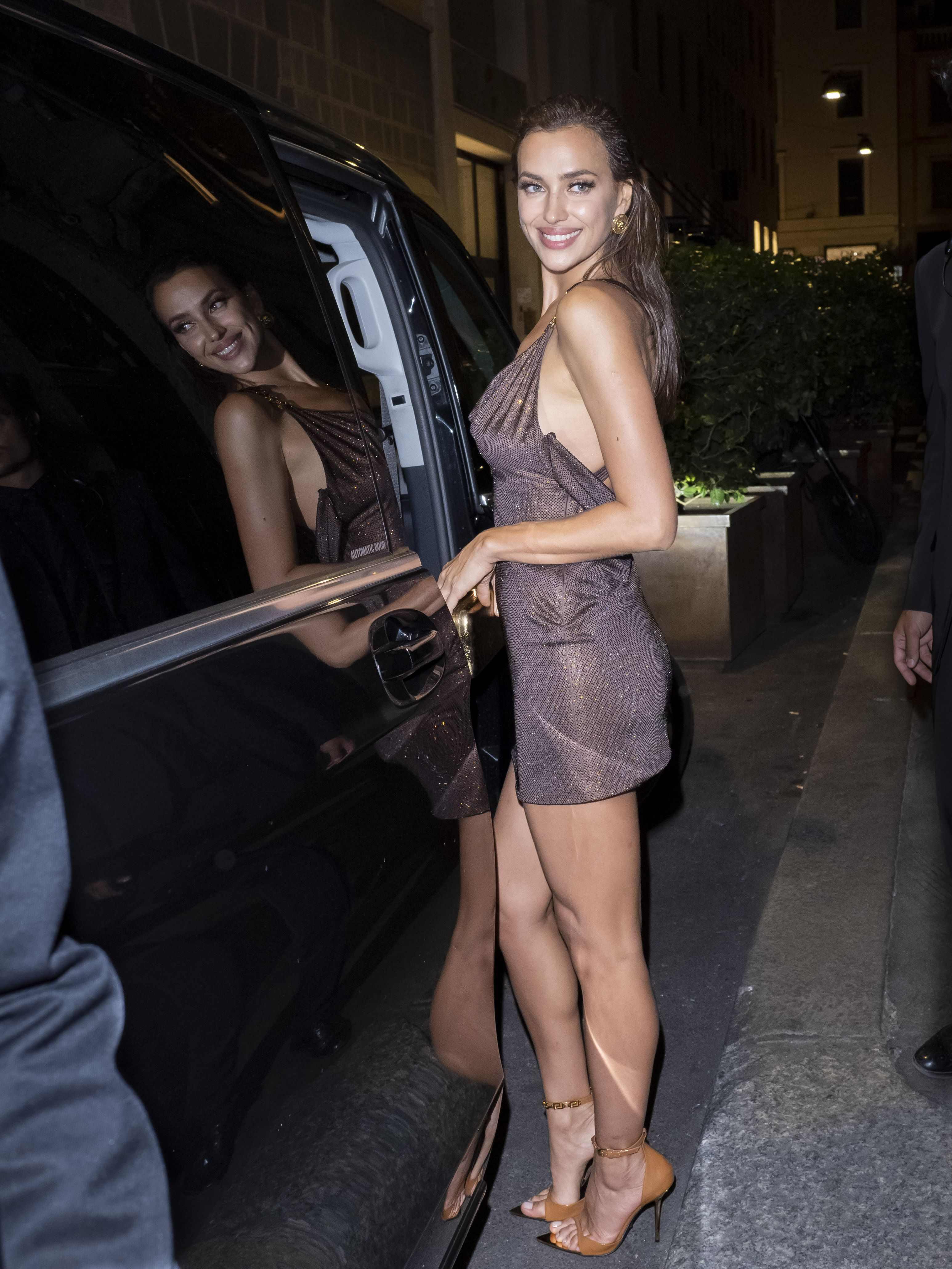 Irina Shayk Stepped Out in Two Slinky Mini Dresses for Milan Fashion Week