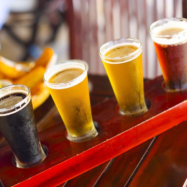 four sorts of beer beer tasting ale, porter, lager, pilsner