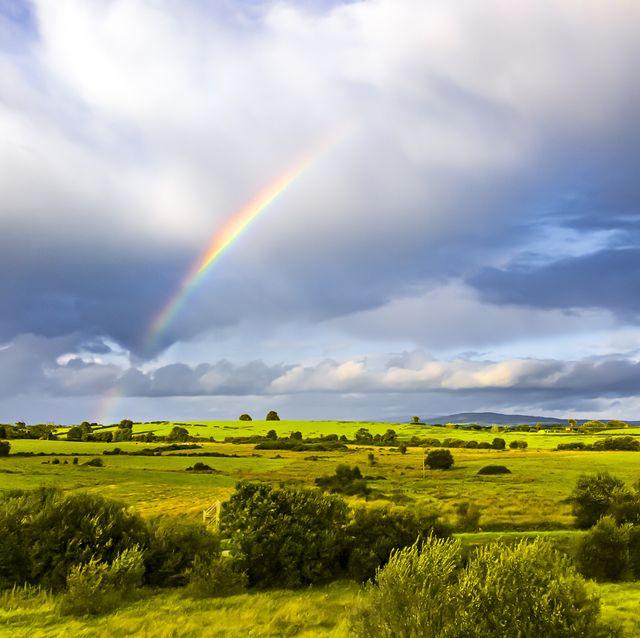 double rainbow landscape in beautiful  irish landscape scenery, taken on sunny and rainy dayco tipperary ireland