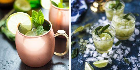 Drink, Mojito, Mint julep, Alcoholic beverage, Food, Lemonade, Cocktail, Lime, Moscow mule, Limonana,