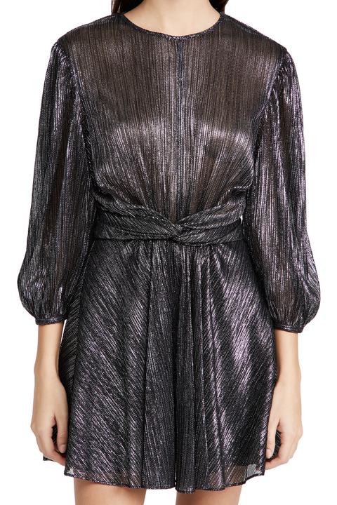 iro irisa黑銀色扭結洋裝