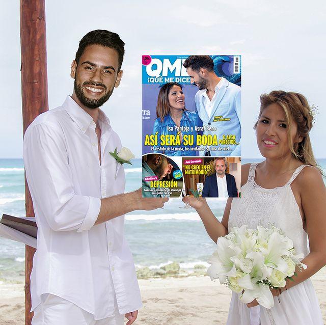 isa pantoja y asraf beno en una recreación de cómo podría ser su boda fotomontaje realizado por qmd