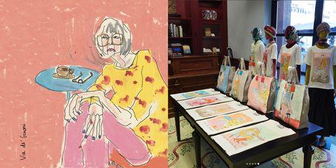 Cartoon, Art, Illustration, Visual arts, Room, Artist, Modern art, Painting, Animated cartoon, Sitting,