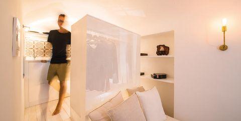 Room, Floor, Interior design, Wall, Ceiling, Flooring, Interior design, Couch, Light fixture, Beige,