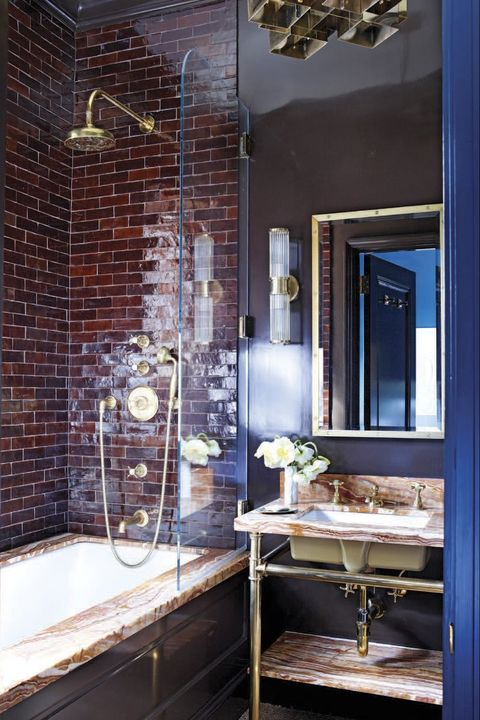 Blue, Room, Property, Bathroom, Interior design, Building, Brick, Architecture, Wall, House,