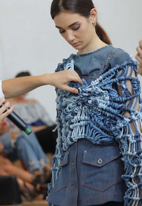 Clothing, Jeans, Denim, Blue, Fashion, Beauty, Shoulder, Fashion design, Textile, Outerwear,