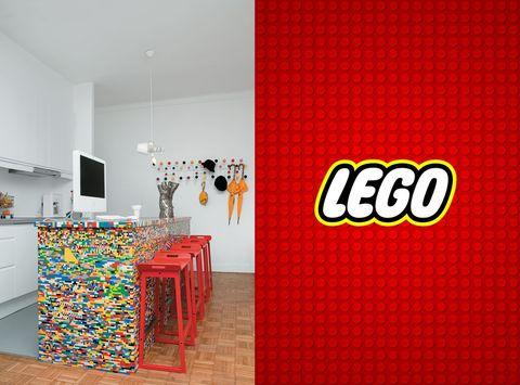Isla central hecha con piezas de Lego