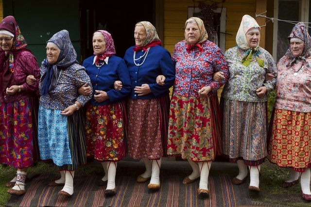in kihnu, women weare traditional clothes are dance together the most visible emblem of their culture remains the woollen handicrafts worn by the women of the community the kihnu cultural space is on the unesco intangible heritage list photo by jean luc luyssengamma rapho via getty images