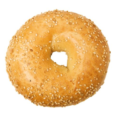 isolated close up of of sesame bagel on a white background