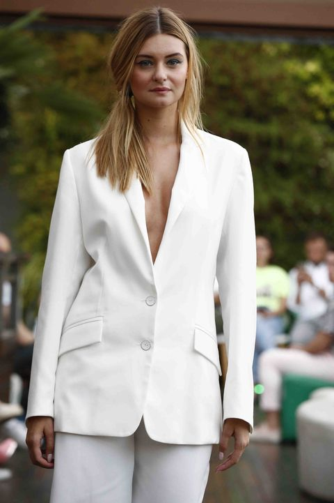 White, Clothing, Suit, Blazer, Outerwear, Fashion, Formal wear, Jacket, Street fashion, Pantsuit,