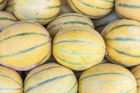 melons sold at shuk hacarmel market, tel aviv, israel