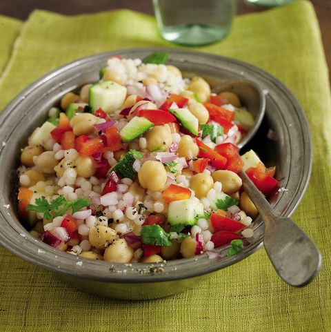 healthy zucchini recipes: israeli couscous, chickpea, and zucchini salad