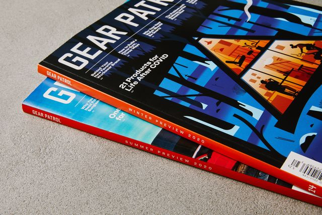 two copies of gear patrol magazine stacked on top of each other