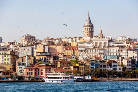 istanbul skyline with bosphorus and galata tower, istanbul, turkey
