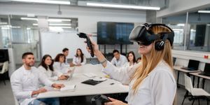 Students at college doing an experiment watching a student while using virtual reality headset and joysticks