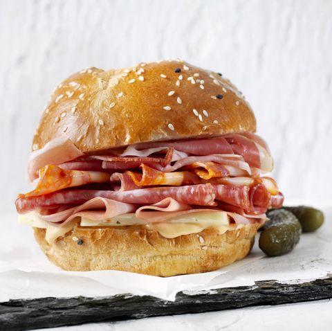 italian deli sandwich on a brioche bun
