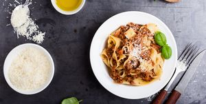 Italian pasta pappardelle bolognese