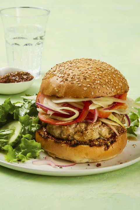 italian sausage burger with marinated peppers and onions