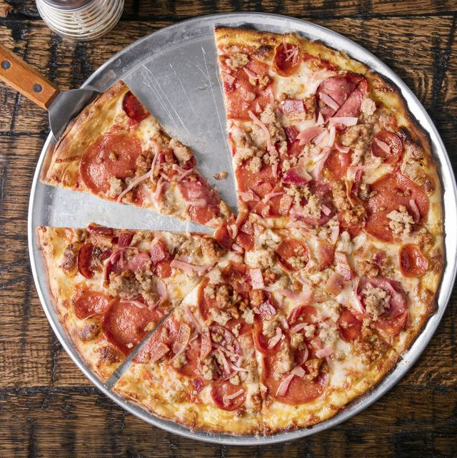 lots of meat pizza