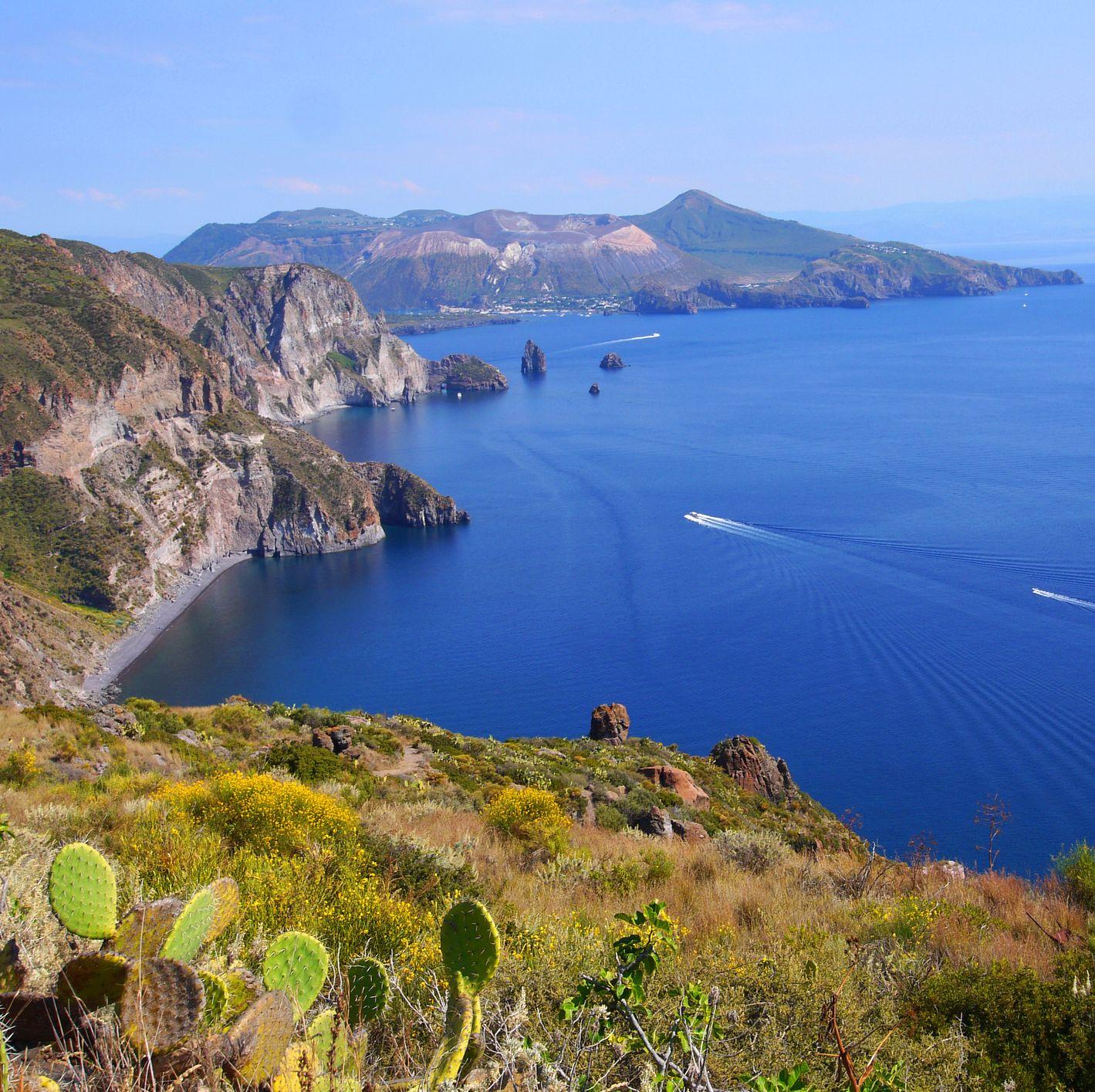 Italy, Sicily, Aeolian Islands, Lipari Island, View from Belvedere Quattrocchi