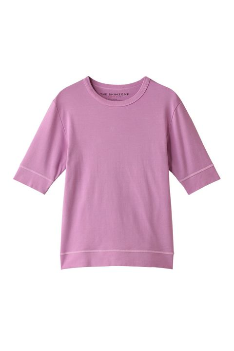 Clothing, T-shirt, Sleeve, Pink, Violet, Purple, Lilac, Outerwear, Top, Blouse,