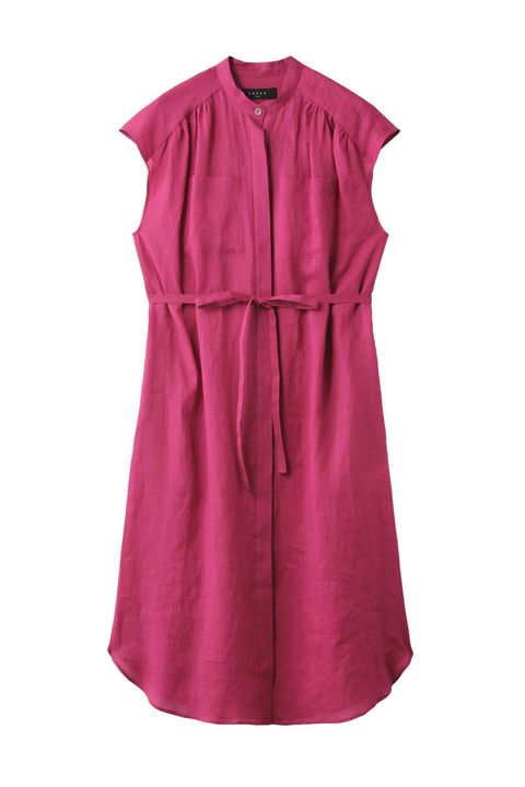 Clothing, Dress, Pink, Day dress, Sleeve, Magenta, Sleeveless shirt, Cocktail dress, Outerwear, Collar,
