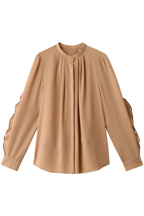 Clothing, Sleeve, Outerwear, Blouse, Yellow, Neck, Tan, Brown, Shoulder, Beige,