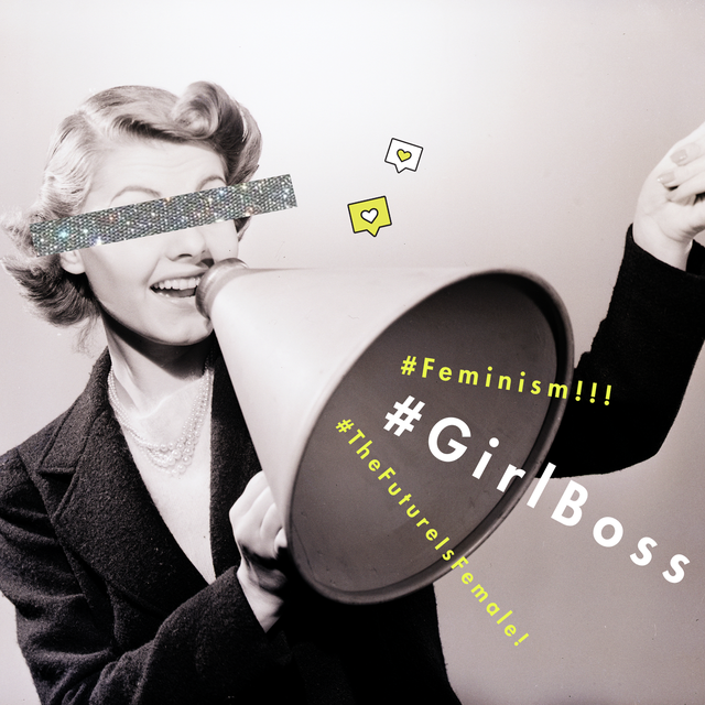 vintage woman enthusiastically smiling into a megaphone with the hashtags girlbosss, feminism, and thefutureisfemale