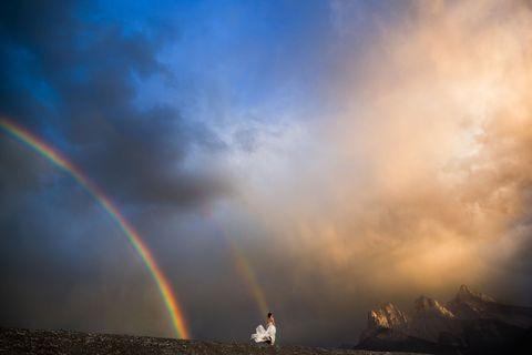 Sky, Rainbow, Nature, Cloud, Atmosphere, Horizon, Atmospheric phenomenon, Daytime, Meteorological phenomenon, Geological phenomenon,