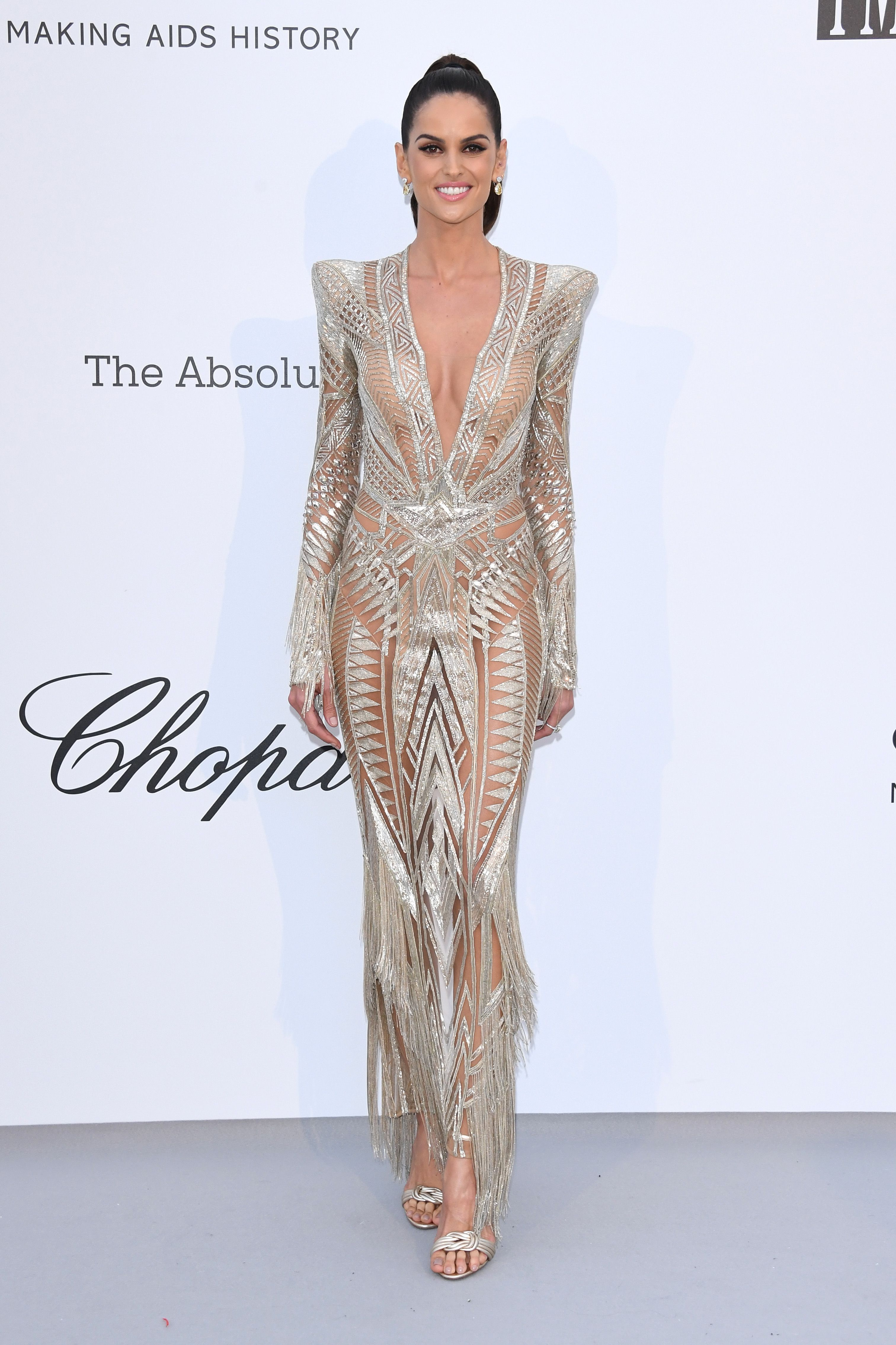 Izabel Goulart In a metallic cutout column gown.