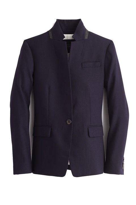 Clothing, Outerwear, Jacket, Blazer, Sleeve, Suit, Purple, Button, Collar, Formal wear,
