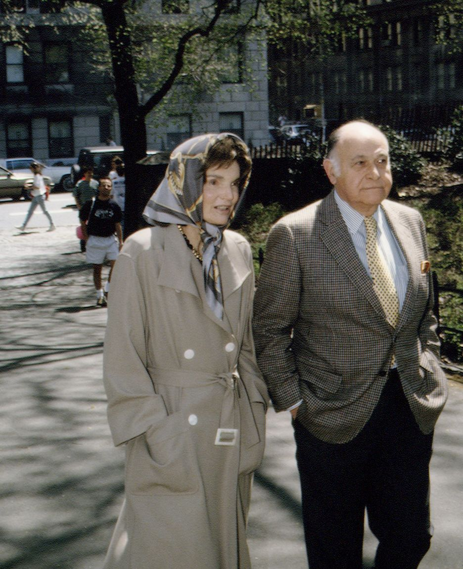 Maurice Tempelsman and Jacqueline Kennedy Onassis TAKE A WALK IN CENTRAL PARK in April 1994.