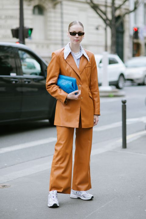 Clothing, Street fashion, Fashion, Turquoise, Orange, Suit, Yellow, Snapshot, Coat, Outerwear,