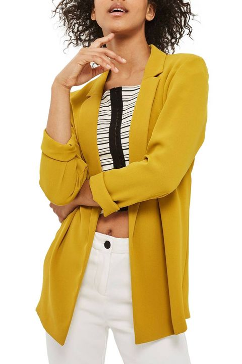 Clothing, Yellow, Outerwear, Blazer, Jacket, Sleeve, Overcoat, Coat, Suit, Top,