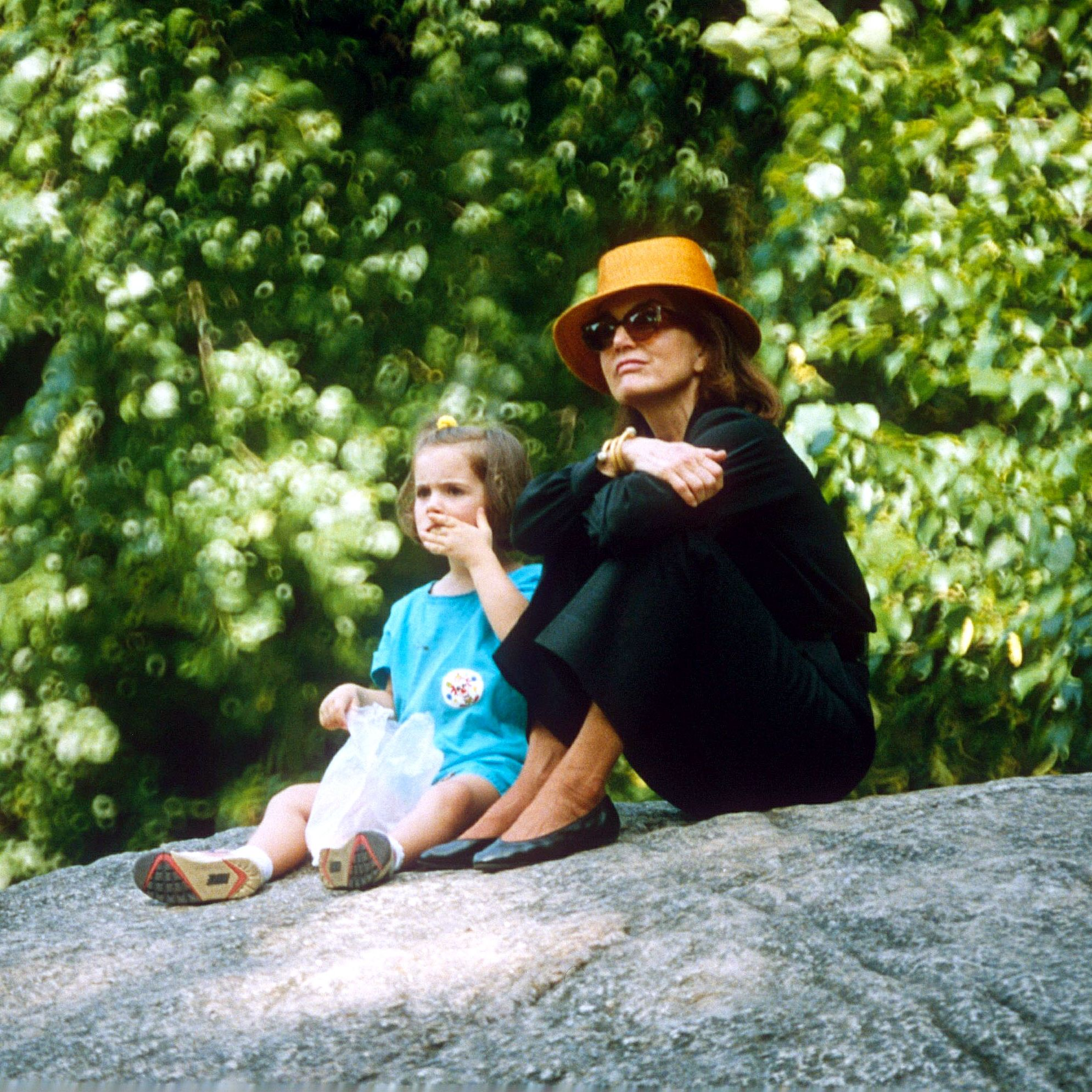 Jackie with one of her granddaughters in Central Park in 1992, two years before she died.