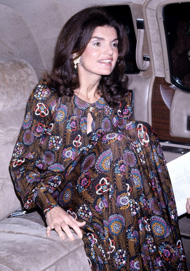 new york   may 7 jacqueline kennedy onassis attends the metropolitan opera house house royal ballet on may 7, 1974 in new york city, new york photo by tom wargackiwireimage