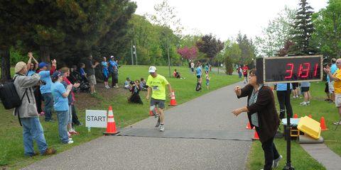 Jake Jackovich finishing a 5K