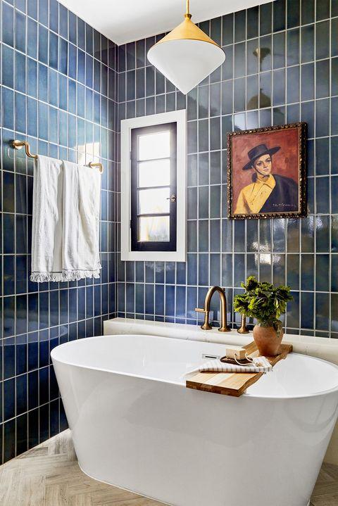 bathroom, bathtub, blue tile home of jaclyn johnson of create  cultivate interior designer ginny macdonald ginnymacdonald1666202035psd