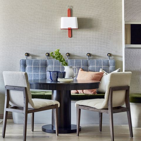 Furniture, Room, Interior design, Dining room, Wall, Table, Floor, Chair, Tile, Wallpaper,
