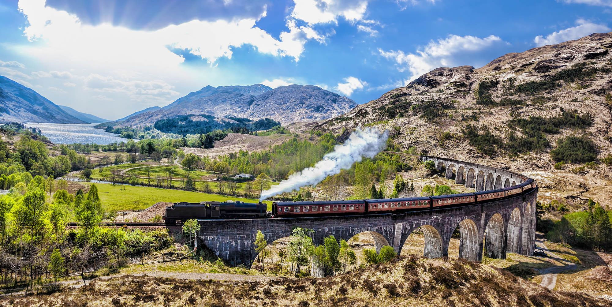 This dreamy trip explores the Scottish Highlands by steam train and boat