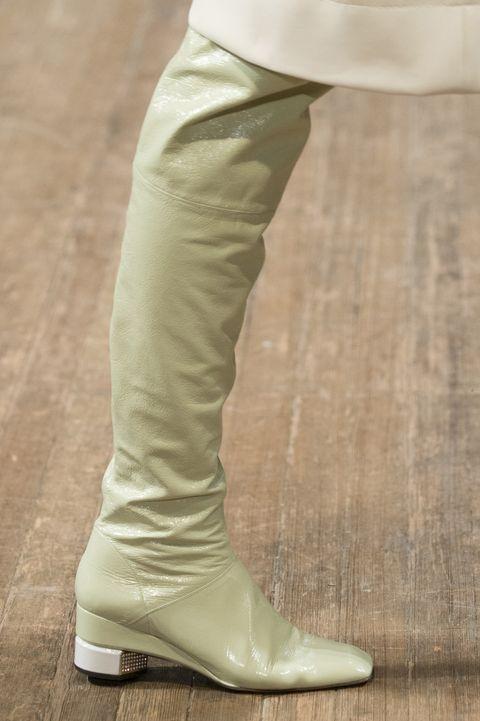 Footwear, White, Shoe, Khaki, Boot, Beige, Leg, Knee, Human leg, Riding boot,
