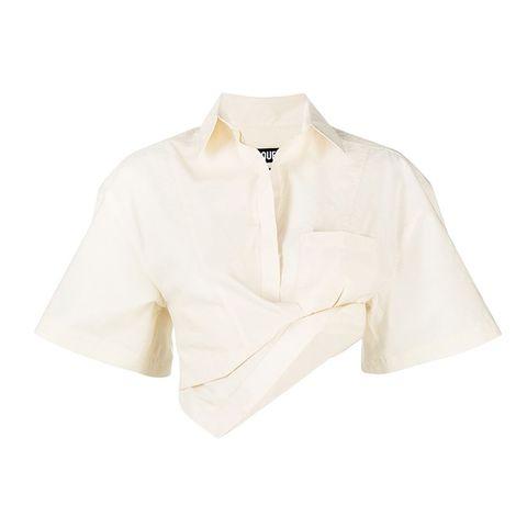 linnen crop top blouse in gebroken wit van jacquemus via mytheresa