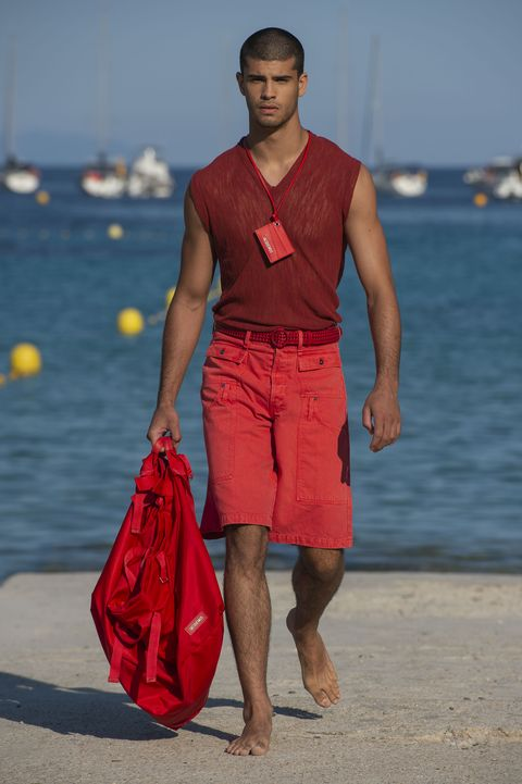 Fashion, Clothing, Red, Summer, Beach, Vacation, Human, Runway, Fashion model, Muscle,