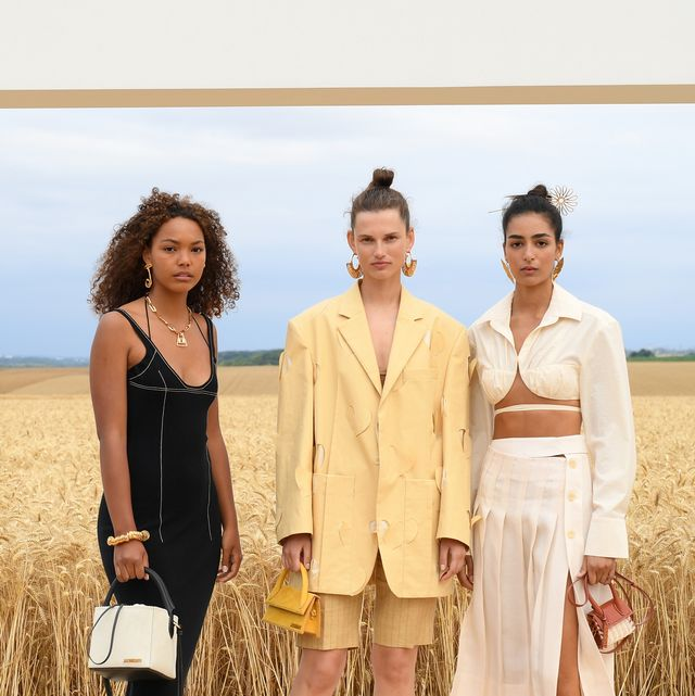 paris, france   july 16 models, precious sipkema l and nora r pose on the first line prior to lamour  jacquemus spring summer 2021 show on july 16, 2020 in paris, france photo by pascal le segretaingetty images