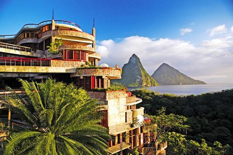 soufriere, st lucia jade mountain at anse chastenet resort, where each suite has a view of the pitons