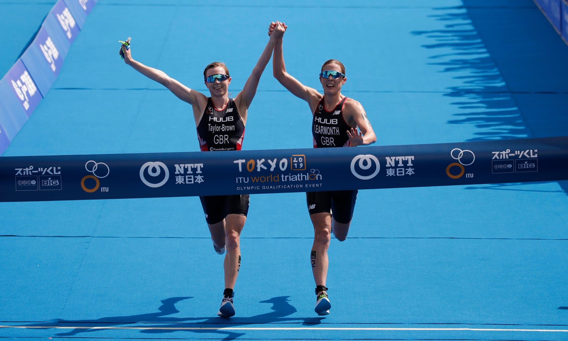 British triathletes Jess Learmonth and Georgia Taylor-Brown disqualified for holding hands as they crossed the line