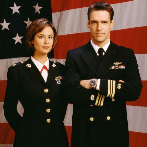 "Actors David James Elliott and Catherine Bell star in ""JAG."""
