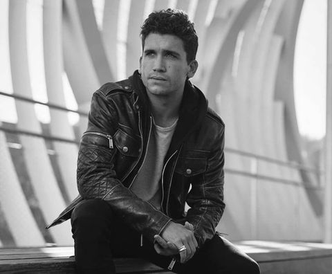 Black, White, Leather, Leather jacket, Black-and-white, Standing, Cool, Jacket, Photography, Textile,