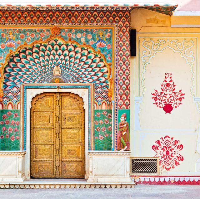Yellow, Wall, Door, Facade, Building, Wallpaper, Architecture, Room, Pattern, Window,