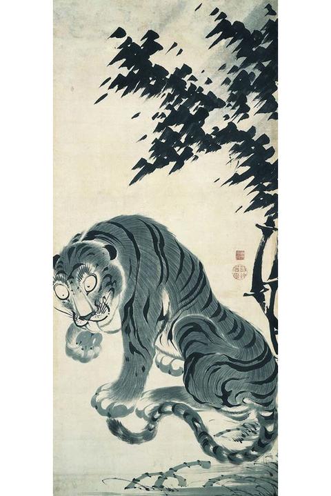 竹虎図(左幅)鹿苑寺蔵 伊藤若冲筆